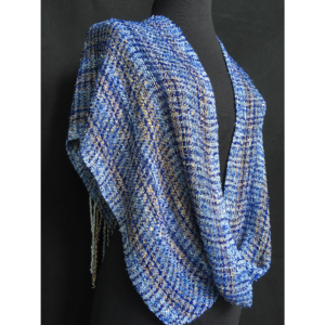 blue handwoven infinity shawl