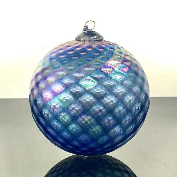 blue handmade glass ornament, asheville glass blowing