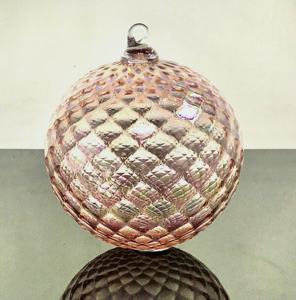 pink handmade glass ornament, blown glass ball