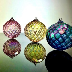 bright optic ornaments, asheville glass blowing