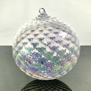 white glass handmade ornament, asheville glass blowing