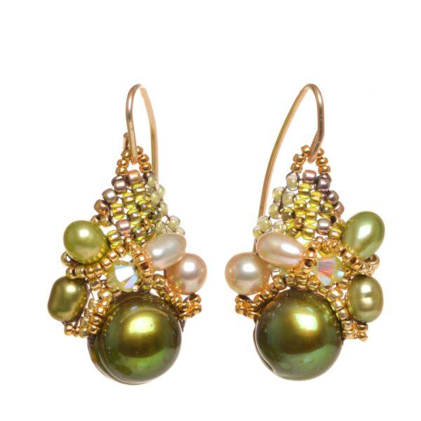 green pear woven beaded earrings, nc jewelery, woven bead jewelry