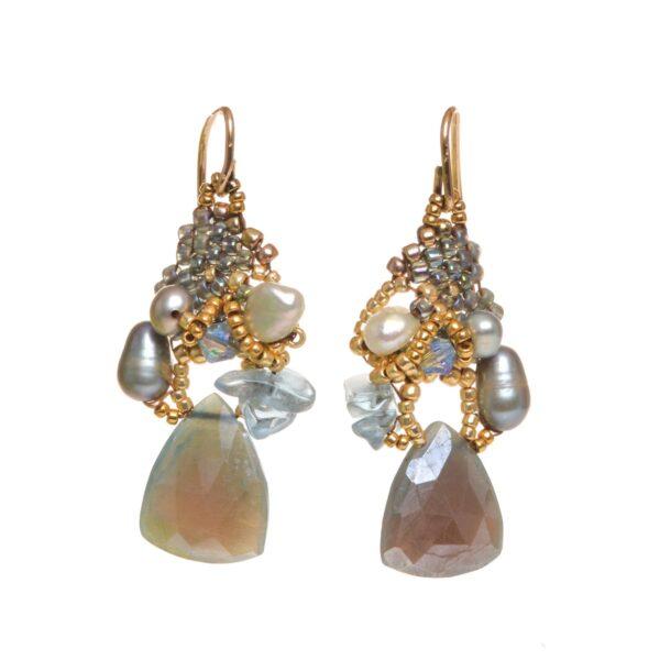 faceted blue fuschite cluster woven beaded earrings