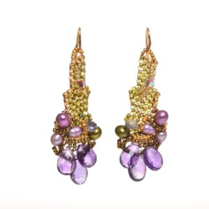 woven beaded earrings with amethyst beads
