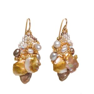 keishi textured pear earrings, woven beads pearl earrings