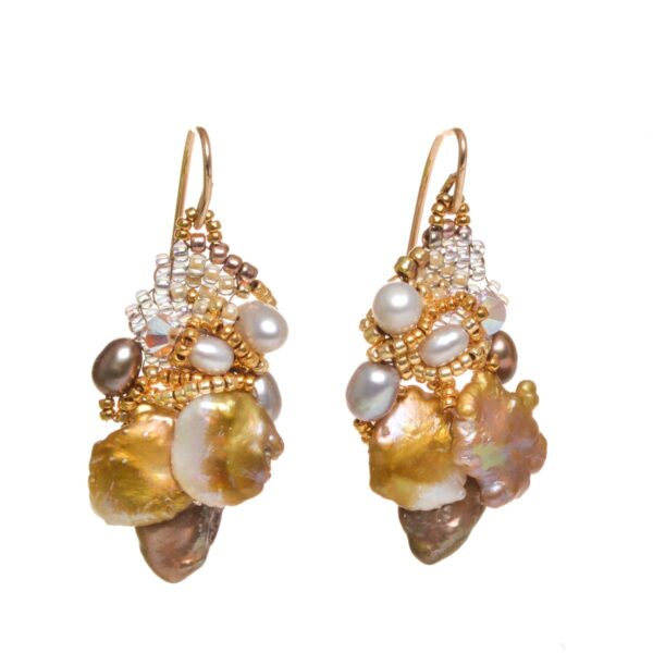 keishi textured pear earrings, woven beads pearl earrings