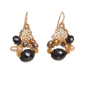 black spinelle pearl woven beaded earrings