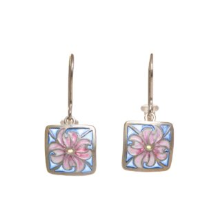 small blue and pink dogwood earrings, stained glass earrings