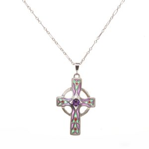 handmade colorful cross necklace for her, plique a jour cros