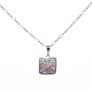 small dogwood flower plique a jour necklace, handmade plique a jour necklace, nc stained glass jewelery