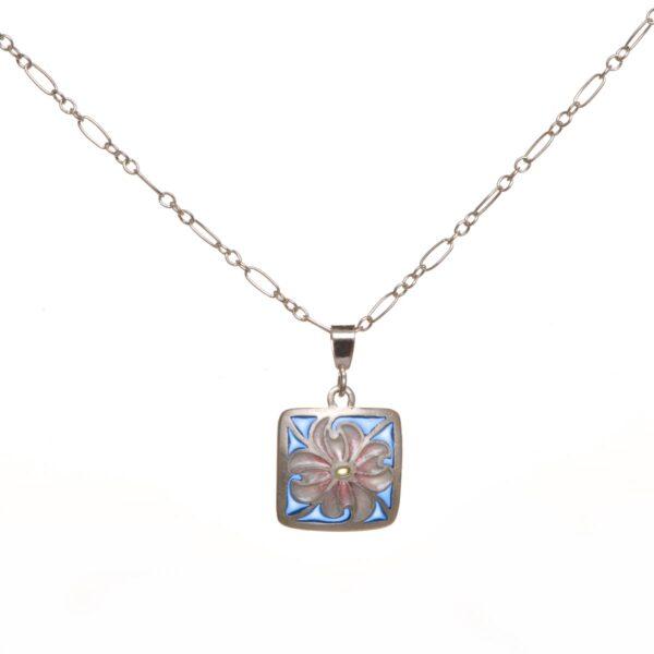 small dogwood flower plique a jour necklace, handmade plique a jour necklace, nc stained glass jewelery