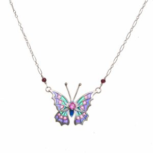larger 3d butterfly stained glass necklace, plique a jour butterfly necklace