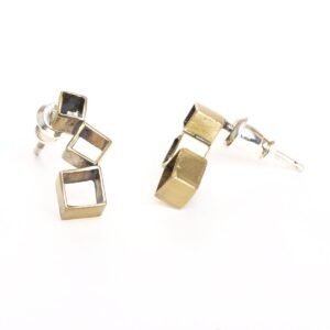 stacked box post earrings, handmade unique stud earrings