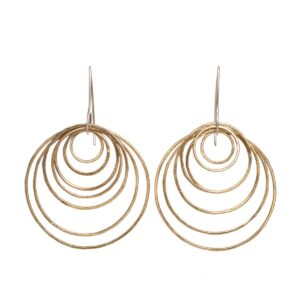 brass multi hoop earrings with silver earwires