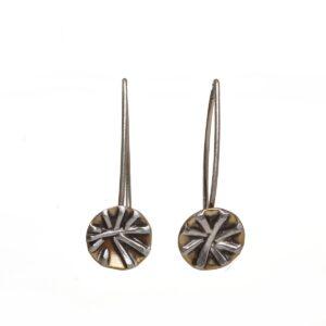 little handmade snowflake earrings, handmade mixed metal small earrings