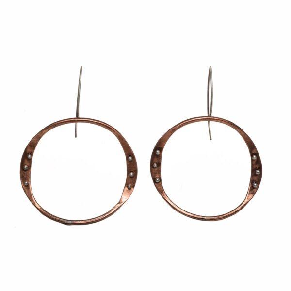copper front facing handmade wavy hoop earrings