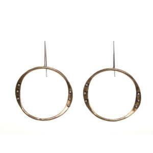 brass front facing handmade wavy hoop earrings