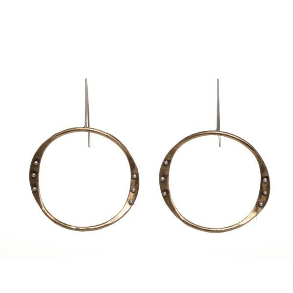 brass front facing handmade wavy hoop earrings