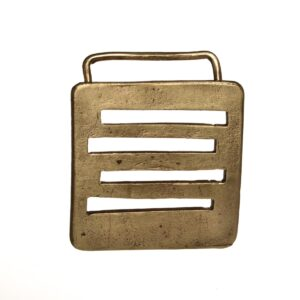 handmade brass belt buckle with lines