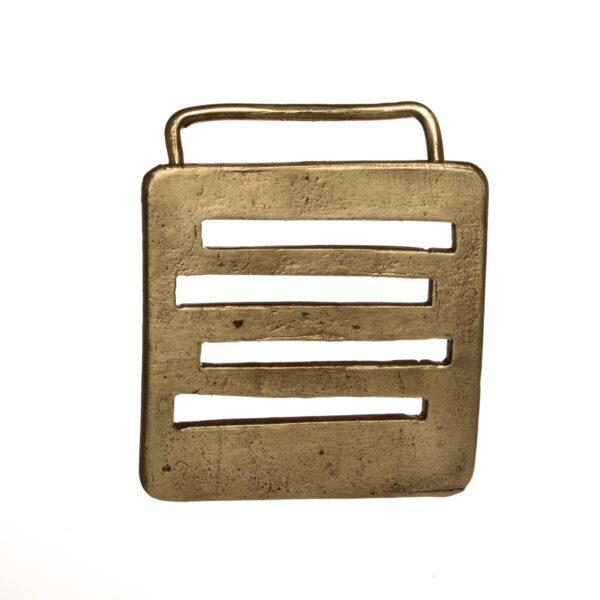 handmade brass belt buckle with lines