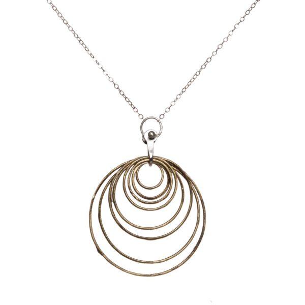 brass multi hoop necklace
