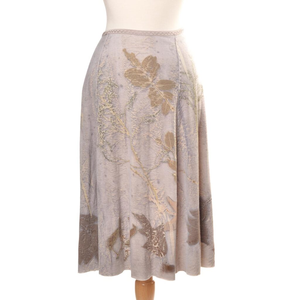 eco printed off white skirt