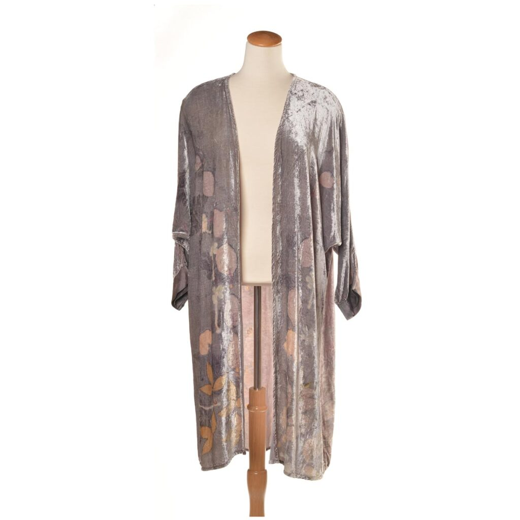 light summer layer, handmade eco printed velvet jacket