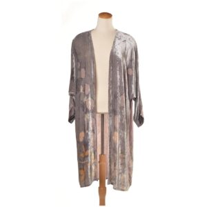 light summer layer, handmade eco printed velvet jacket