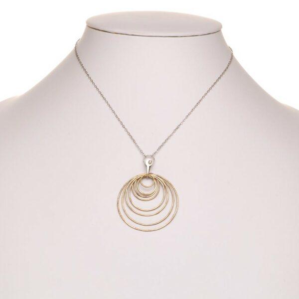 brass hoop necklace, handmade multi hoops on silver chain