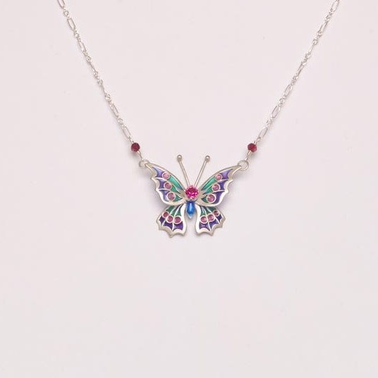 3d butterfly plique a jour stained glass necklace, pink purple and green butterfly necklace