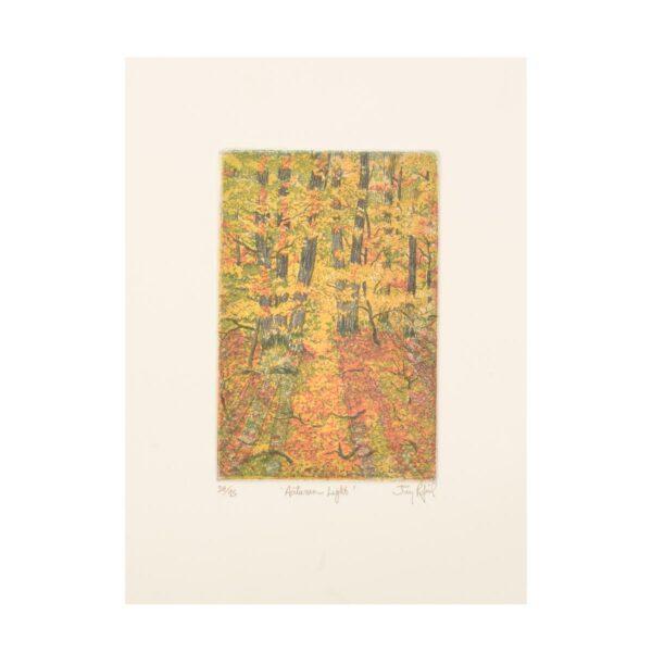 fall trail handmade etching print, mountain etching