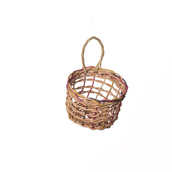 colorful woven garlic basket