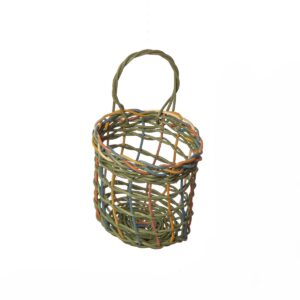 colorful woven garlic basket