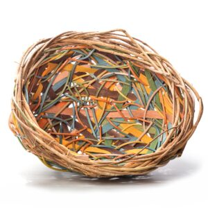 earth tones colorful random weave open basket