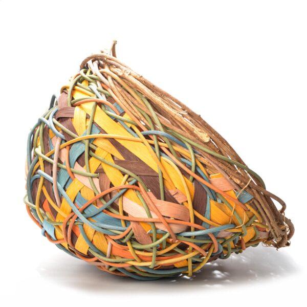 earth tones colorful random weave open basket