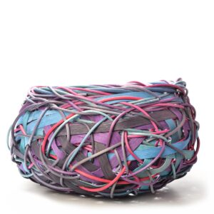 random weave large basket bowl with purple, blue and red reeds