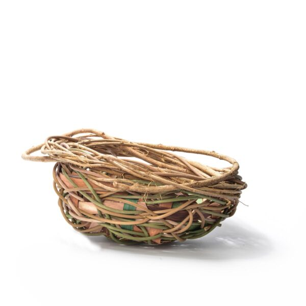 green natural and pink random weave basket bowl