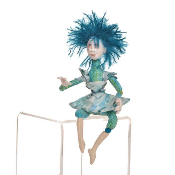 blue handmade fairy doll