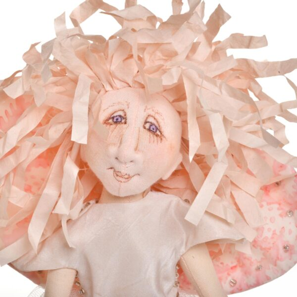handmade doll angel with rice paper hair
