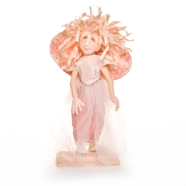 pink handmade doll angel with rice paper hair