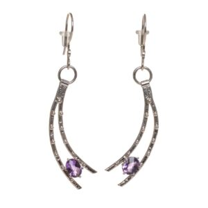 handmade shooting star earrings with amethyst
