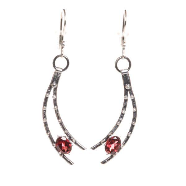 garnet shooting star handmade earrings