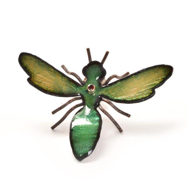 metal green enamel bee pin