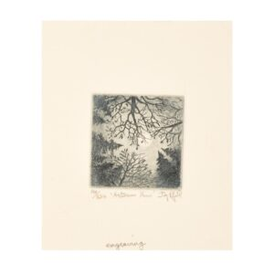 mountain sky view etching, small etching