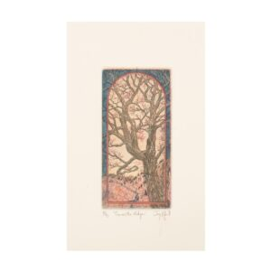 blue and pink tree print, etching print