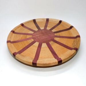 striped natural wood lazy susan, winchester woodworks lazy susan