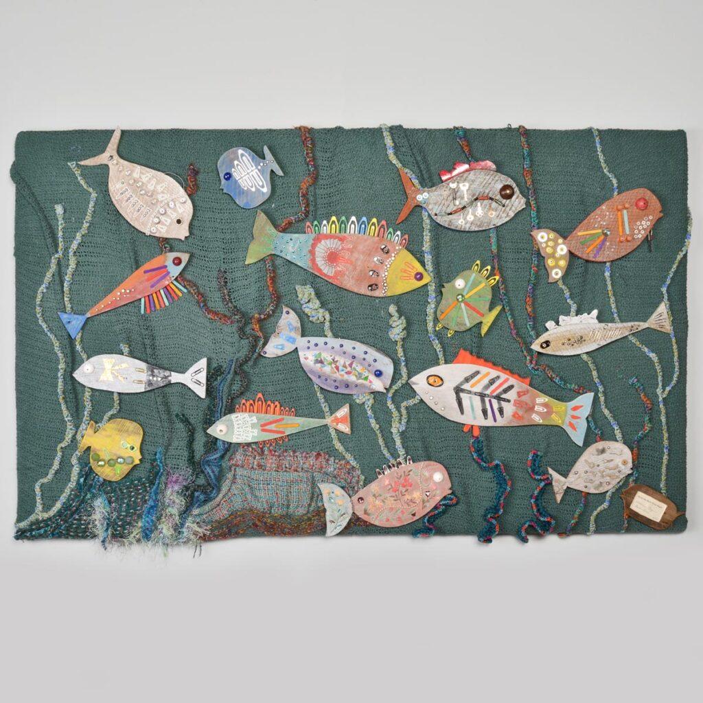fish on fabric wall piece