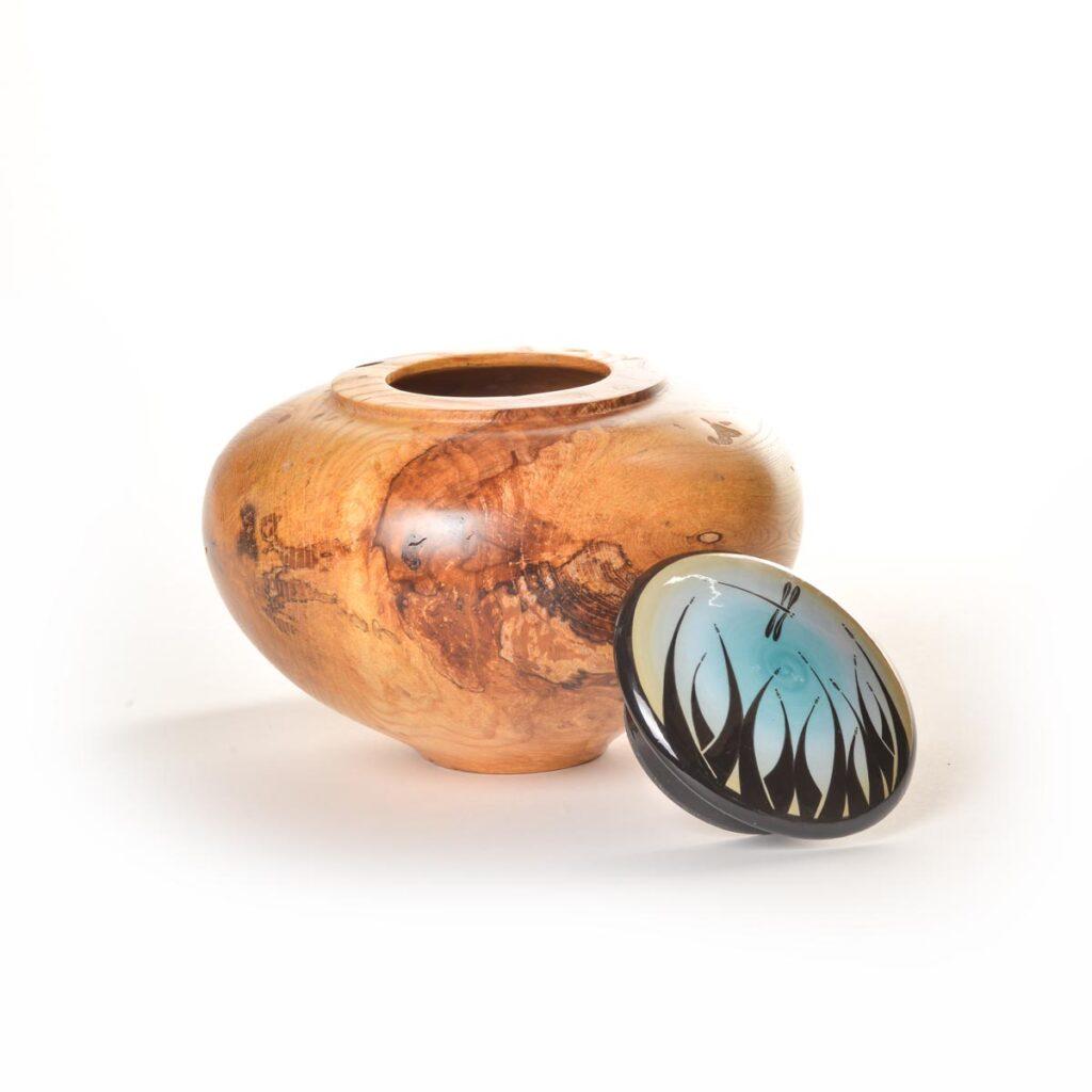turned wood jar with handpainted ceramic lid