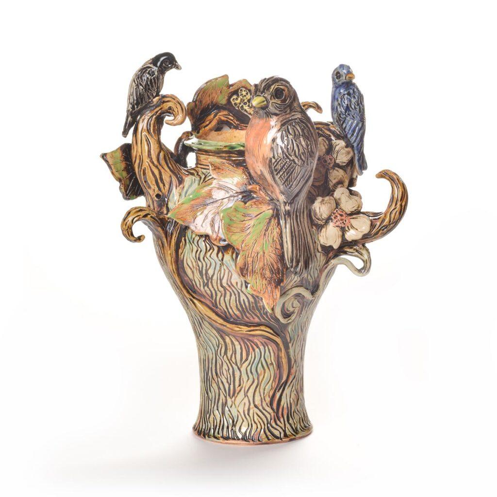 sculptural ceramic tree with birds