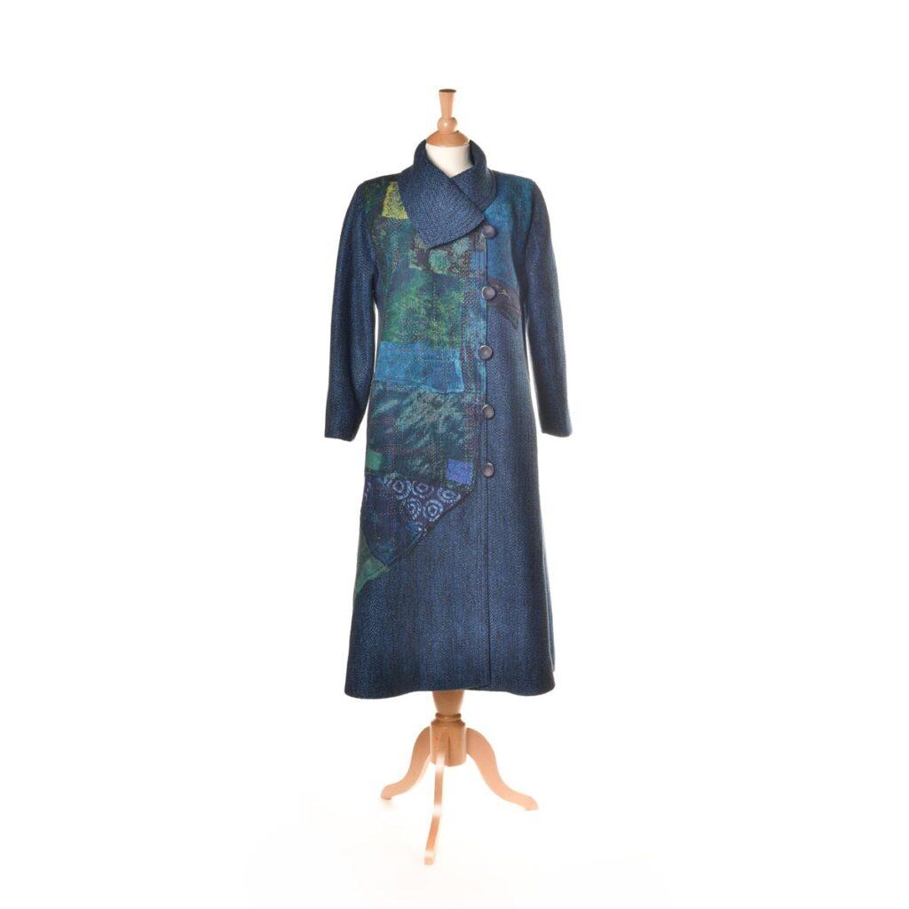 blue handwoven coat
